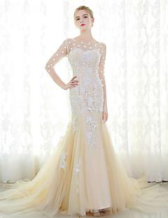 Havfrue Brudekjole - Elegant og luksuriøs Bryllupskjoler i Farve Hofslæb Høj halset Tyl med Blonde