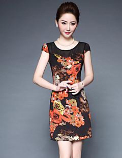 Damen Hülle Kleid-Ausgehen Niedlich Blumen Rundhalsausschnitt Übers Knie Kurzarm Polyester Elasthan Frühling Sommer Mittlere Hüfthöhe