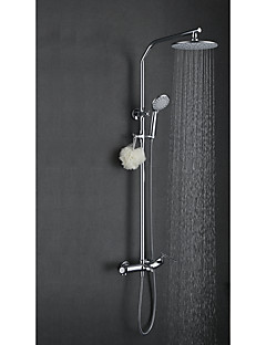 田舎風 アールデコ調/レトロ風 近代の シャワーシステム レインシャワー ワイドspary with  セラミックバルブ 二つのハンドル三穴 for  クロム , シャワー水栓