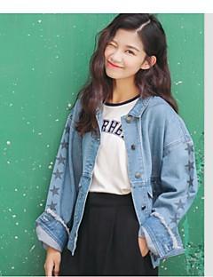 Damen Solide Einfach Lässig/Alltäglich Jeansjacke,Peter Pan-Kragen Frühling Langarm Standard Acryl