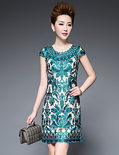 Women's Going out Cute Sheath Dress,Embroidered Round Neck Above Knee Short Sleeve Polyester Spring Summer Mid Rise Micro-elastic Medium
