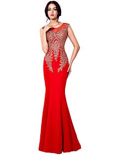 マーメイド/トランペットジュエルネックフロアレングスジャージーフォーマルイブニングドレス(刺繍あり)