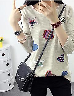 Langærmet Rund hals Damer Ensfarvet Simpel I-byen-tøj T-shirt,Andet