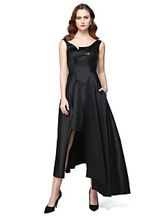 A-Line Jewel Neck Asymmetrical Satin Formal Evening Black Tie Gala Dress with Pockets Sequins by TS Couture®
