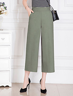 Women's High Rise Micro-elastic Chinos Pants,Wide Leg Sequins Solid