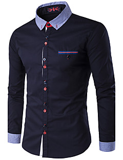 Men's Casual/Daily Work Simple Active Shirt,Solid Standing Collar Long Sleeve Polyester