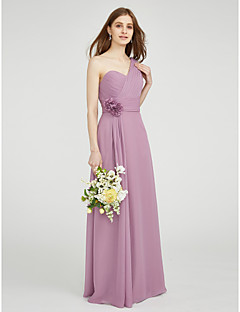 LAN TING BRIDE Floor-length One Shoulder Sweetheart Bridesmaid Dress - Floral Sleeveless Chiffon