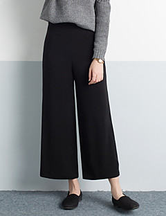 レディース ファッション ハイライズ ワイドレッグ 非弾性 チノパン パンツ ソリッド