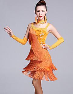 라틴 댄스 드레스 여성용 성능 비스코스 세퀸 5 개 민소매 내츄럴 드레스 글러브 Neckwear 반바지