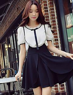Damen Solide Patchwork Einfach Street Schick Anspruchsvoll Ausgehen Lässig/Alltäglich Urlaub Hemd,Rundhalsausschnitt Sommer Kurzarm