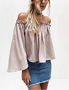 여성 솔리드 보트넥 긴 소매 셔츠,섹시 스트리트 쉬크 데이트 캐쥬얼/데일리 비치 폴리에스테르 여름