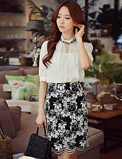 Damen Solide Street Schick Anspruchsvoll Lässig/Alltäglich Formal Arbeit Bluse,Ständer Sommer Kurzarm Polyester Mittel Lichtdurchlässig