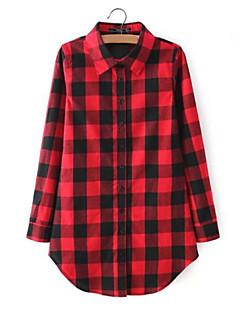 משובץ דמקה עומד פשוטה יום יומי\קז'ואל חולצה נשים,קיץ שרוול ארוך אדום / שחור דק כותנה