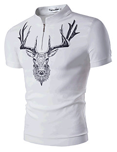 Men's Casual/Daily Beach Simple Active Summer T-shirt,Print Round Neck Short Sleeve Cotton Medium