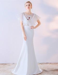人魚/トランペットジュエリーネックスイープ/ブラシトレインサテンシフォンフォーマルイブニングドレス