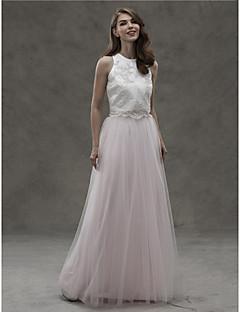 LAN TING BRIDE Lungo Con decorazione gioiello Vestito da damigella - Spezzato Senza maniche Raso Tulle