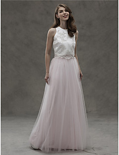 LAN TING BRIDE עד הריצפה עם תכשיטים שמלה לשושבינה - שני חלקים ללא שרוולים סאטן טול