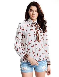 Feminino Camisa Social Casual Para Noite Simples Fofo Todas as Estações,Floral Algodão Poliéster Colarinho de Camisa Manga Longa Média
