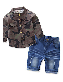 Boys' Casual/Daily Beach Sports Print Sets,Cotton Polyester Summer Spring Fall Short Pant Clothing Set