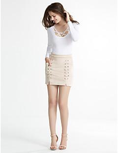 נשים צינור אחיד הצלבה בבד חצאיות,פָּשׁוּט / סגנון רחוב יום יומי\קז'ואל / מועדונים,מעל הברך גיזרה בינונית (אמצע) גמישות Polyesteriמיקרו