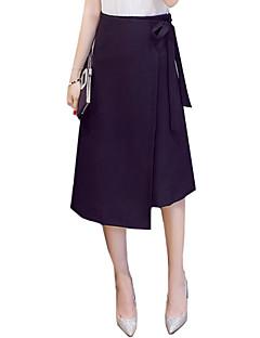 נשים מידות גדולות גזרת A אחיד שסע חצאיות,וינטאג' סגנון רחוב ליציאה עבודה,א-סימטרי גיזרה גבוהה שרוך זהורית Polyesteri ספנדקס מתיחה קפיץ קיץ