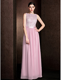 Sheath / Column Bateau Neck Floor Length Lace Georgette Bridesmaid Dress with Lace Sash / Ribbon by LAN TING BRIDE®