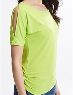 여성의 솔리드 라운드 넥 짧은 소매 티셔츠,섹시 / 스트리트 쉬크 캐쥬얼/데일리 레드 / 화이트 / 블랙 / 그레이 / 그린 / 옐로 면 / 레이온 여름 얇음