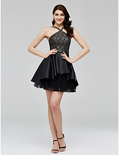 TS Couture Cocktail Party Dress - Little Black Dress A-line Spaghetti Straps Short / Mini Lace Tulle Mikado with Pleats