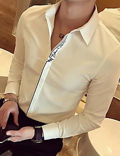 メンズ カジュアル/普段着 シャツ,シンプル シャツカラー ソリッド アクリル 長袖
