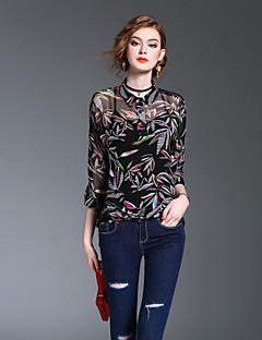 XSSLWomen's Going out Casual/Daily Beach Vintage Simple Street chic Spring Fall BlousePrint Shirt Collar  Sleeve Polyester Medium