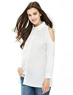 Majica Žene,Jednostavno / Ulični šik Ležerno/za svaki dan / Rad Jednobojni-Dugih rukava Kragna košulje-Proljeće / Jesen Bijela / Crna
