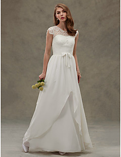 A-line Wedding Dress See-Through Floor-length Jewel Chiffon Lace with Button Lace