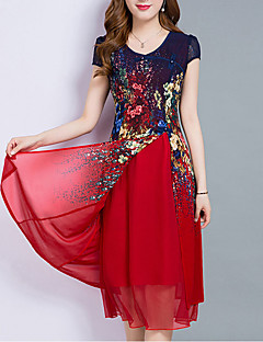 Women's Going out Plus Size Vintage Sophisticated A Line Chiffon Dress,Print Sweetheart Midi Short Sleeves Polyester Summer Mid Rise