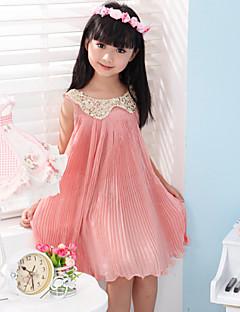 Menina de Vestido Cor Única Algodão Verão / Primavera / Outono Verde / Rosa