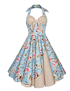 Women's Going out Party Vintage Sophisticated Swing Dress,Print Halter Knee-length Sleeveless Rayon Polyester All Seasons High Rise