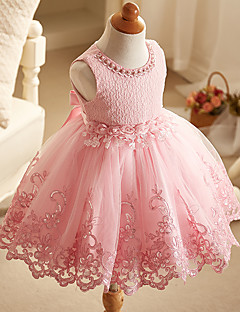 Ball Gown Short / Mini Flower Girl Dress - Organza Sleeveless Jewel Neck with Flower