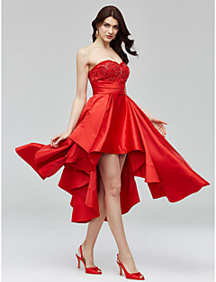 TS Couture Cocktail Party Dress - Open Back A-line Sweetheart Asymmetrical Satin with Appliques Beading Sash / Ribbon Ruching