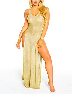 Moulante Robe Femme Plage Vacances Sexy simple,Couleur Pleine Col en V Maxi Sans Manches Polyester Printemps Eté Taille Haute