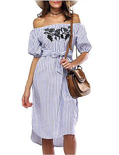 Kadın Dışarı Çıkma Günlük/Sade Tatil Seksi Vintage Sokak Şıklığı Kılıf Elbise Çizgili Nakışlı,Kısa Kollu Kayık Yaka Asimetrik Polyester