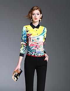 Langærmet Krave Medium Damer Farveblok Forår Sommer Sødt I-byen-tøj Afslappet/Hverdag Skjorte,Polyester