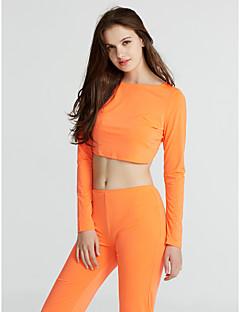 Polyester Oransje Medium Langermet,Rund hals Sett Bukse Drakter Ensfarget Alle sesonger Sexy / EnkelFritid/hverdag / Party/Cocktail /