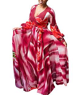 여성 칼집 스윙 드레스 데이트 파티/칵테일 클럽 섹시 빈티지 스트리트 쉬크 프린트,딥 V 맥시 긴 소매 폴리에스테르 봄 가을 높은 밑위 약간의 신축성 중간