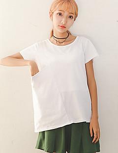 Dames Eenvoudig Zomer T-shirt,Casual/Dagelijks Effen Ronde hals Korte mouw Rayon Dun