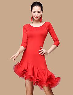 우리는 라틴 댄스 드레스 여자 폴리 에스테르 얇은 명주 그물 댄스 의상을해야한다