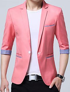 Erkek Pamuk Akrilik V Yaka Bahar Yaz Zıt Renkli Sade Günlük/Sade Çalışma Normal-Erkek Blazer