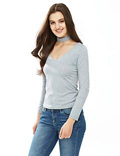 Feminino Camiseta Informal / Casual / Formal Sensual / Fofo Outono / Inverno,Sólido Branco / Preto / Cinza Algodão Decote RedondoManga