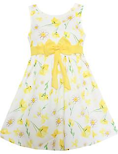 女の子の お出かけ カジュアル/普段着 ホリデー フラワー コットン 竹繊維 ドレス 夏 ノースリーブ