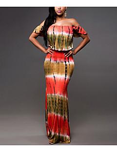 Kadın Günlük/Sade Bandaj Elbise Desen,Kısa Kollu Düşük Omuz Maksi Diğer Tüm Mevsimler Normal Bel Mikro-Esnek Orta