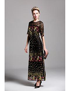 Для женщин На выход На каждый день Очаровательный Оболочка Платье Вышивка,Круглый вырез Макси Рукав ½ Полиэстер Весна ЛетоСо стандартной