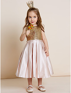 A-line Tea-length Flower Girl Dress - Satin Sequined Jewel with Bow(s) Draping Sequins
